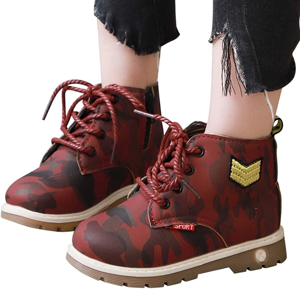 DDKK kids boots,Baby Girls Boys Snow Camouflage Print Sport Casual Shoes Lace Up Boots PU Winter Ankle Bootie Anti-Slip