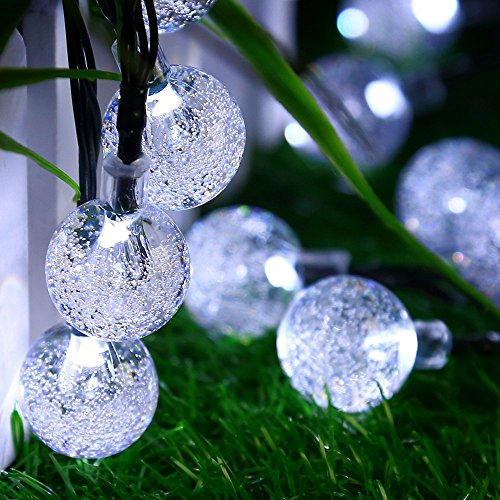 Mrupoo Christmas Solar Globe String Lights 30 LED 21ft 8 Modes Crystal Ball Waterproof Light for Outdoor, Indoor, Thanksgiving, Home, Garden, Lawn, Wedding, Party, Xmas Tree Decorations (Cool white) (Sale Lantern For)