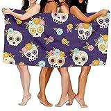 Carmen A Mexican Skulls with Flowers Bath Towel Adult Microfiber Towel 31 X 51 Inch Bath Sheet