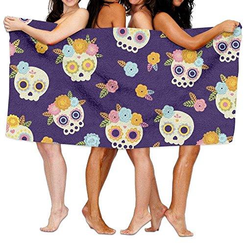 Carmen A Mexican Skulls with Flowers Bath Towel Adult Microfiber Towel 31 X 51 Inch Bath Sheet by Carmen A