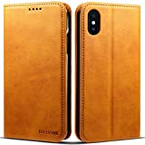 Compatible for Iphone X/XS, PU Leather Wallet Phone Case Kickstand Flip Khaki Cover