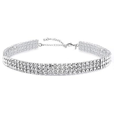 f24847143b Zealmer Gudukt Layered Chain Necklace Shark Tooth Design Tassel White  Rhinestone Choker Necklaces for Women