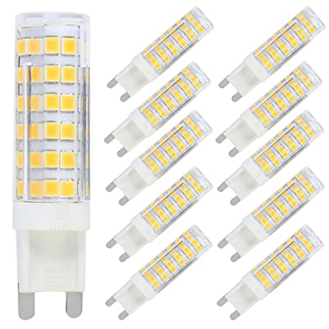 10X G9 LED Bombillas 7W Bulbo Llevado Blanco Cálido 3000K Non-Dimmable Bombillas 76 SMD