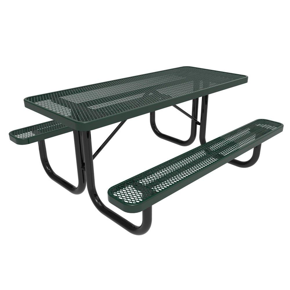 Amazon com coated outdoor furniture t8 grn rectangular portable picnic table 8 feet green garden outdoor