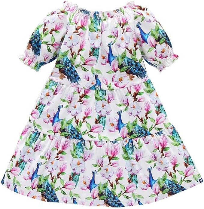 DaMohony Baby M/ädchen Kleidung Baby M/ädchen Kleid Outfit Langarm Floral Rock Party Prinzessin Kleider