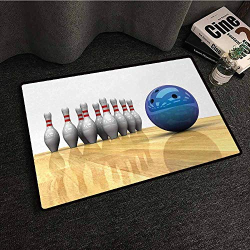 DILITECK Non-Slip Door mat Bowling Party Vivid Objects