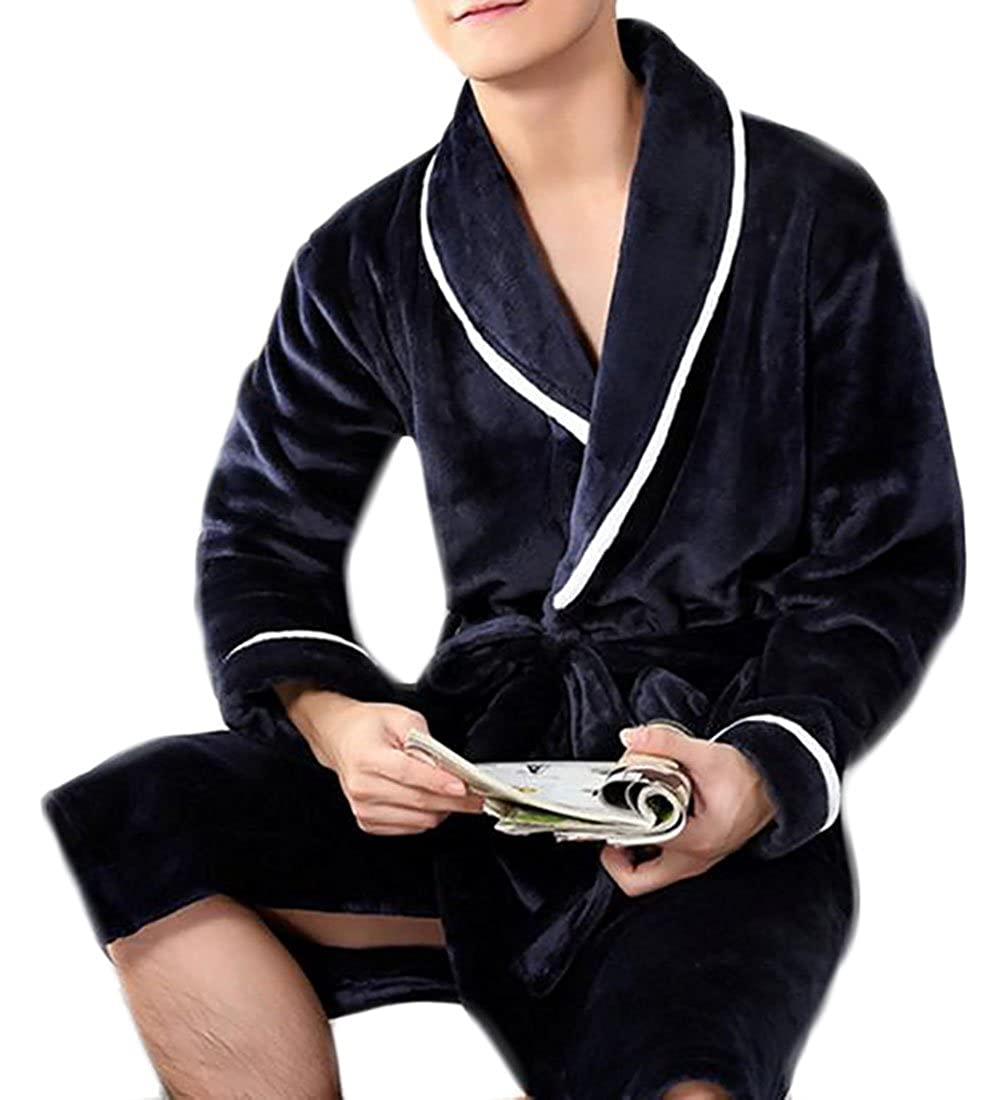 9810b8913e7 1 Pandapang Mens Contrast color Flannel Padded Sleep Sleep Sleep Lounge  Robe Bathrobe 56b045