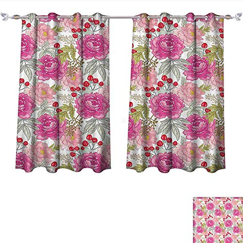 Blackout Living Room/Bedroom Window Curtains Floral Garden Flower Botany with Peony Rose Grass Harvest Illustration Magenta Light Pink Reseda Green Blackout 2 Panels (W72 x L45 -Inch 2 Panels) ()