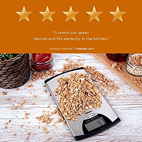 Amazon.com: Duronic KS760 Kitchen Scale 5 KG/11 LB Slim Stainless Steel Design Digital Display Electronic Postal Scale for measuring cooking and baking ...