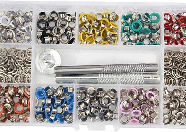 SUPVOX 500 pcs Kit de Herramientas con Ojales Ojales de Metal con Herramienta de perforación y Estuche para Calzado de Cuero Ropa DIY Arte: Amazon.es: Hogar