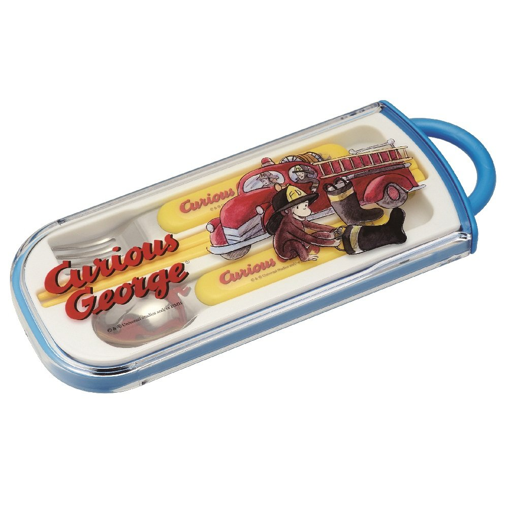 Curious George Fire Truck tragbar Besteck-Set - Löffel & Gabel & Stäbchen (Japan Import)