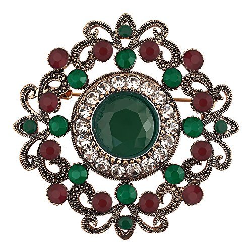 JewelryHouse Alloy Vintage Brooches and Pins Flower Imitation Crystal Jewelry Festival (Green) ()