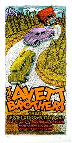Silkscreen Concert Poster - Avett Brothers 2010 Original Silkscreen Concert Poster by Gary Houston