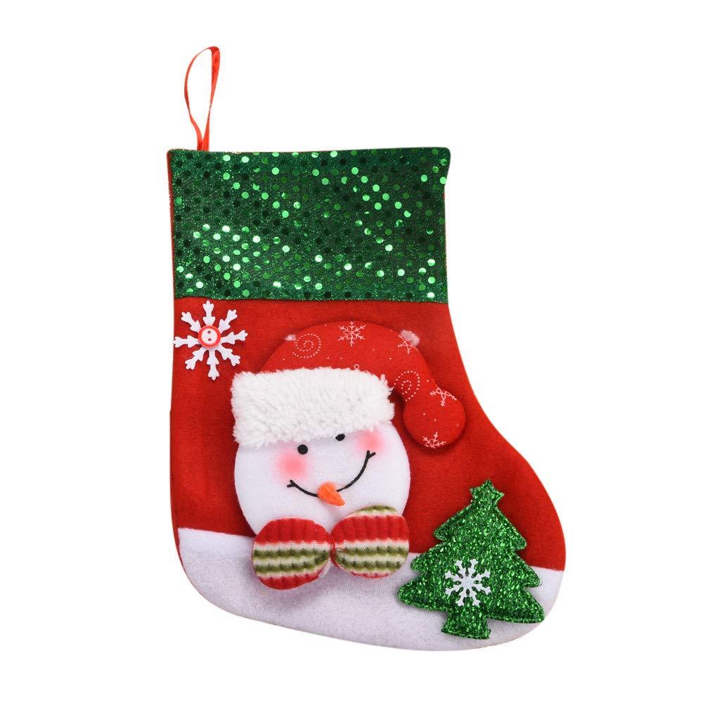 Joopee Christmas Stockings Medium Sequin Socks Santa Claus Candy Gift Bag Xmas Hanging Decor(Red B)