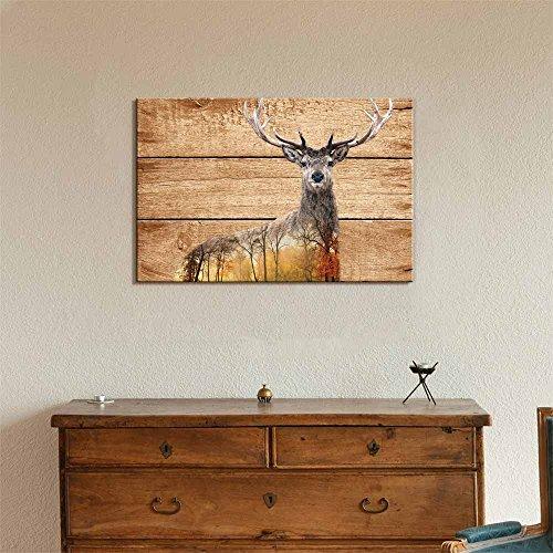 Double Exposure Rustic Elk Deer in The Wild on Vintage Wood Background Wall Decor
