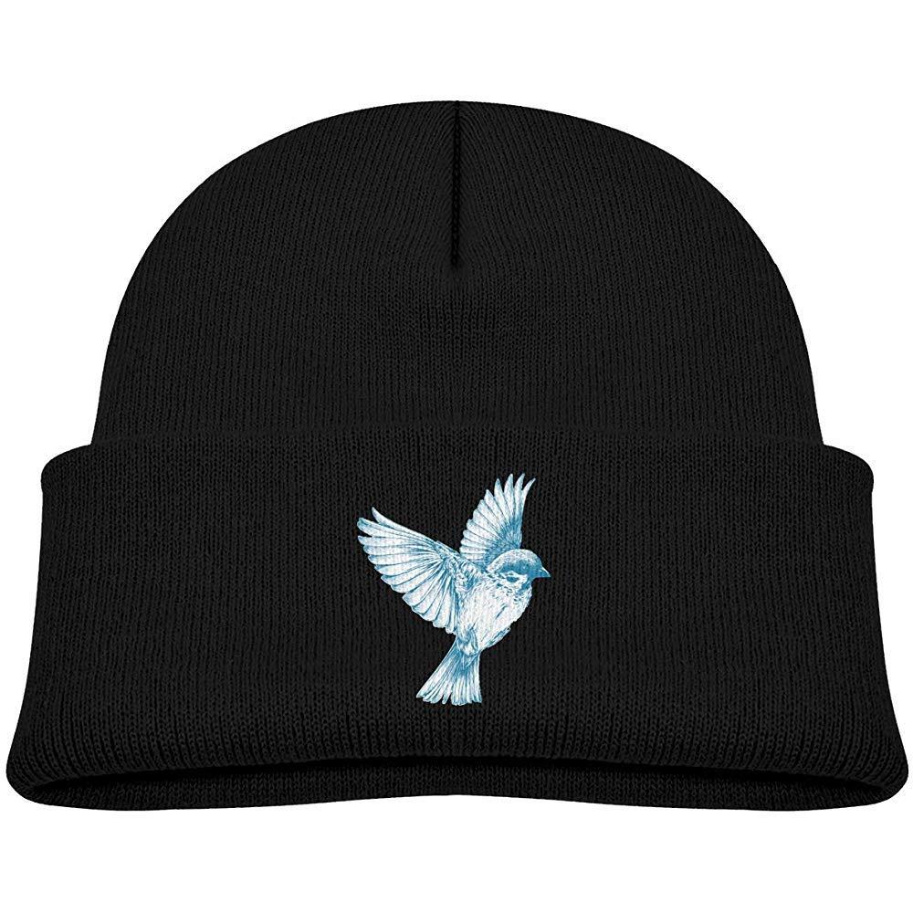 Gorro de Punto para ni/ños Sombrero de colibr/í Blanco-Azul Sombrero de Invierno Gorro de Punto de Calavera para ni/ños Ni/ñas Negro