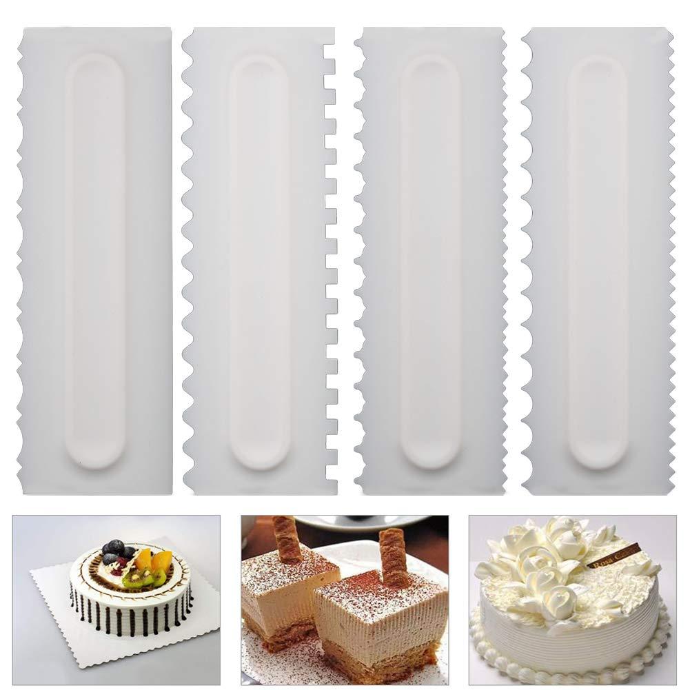 Neepanda Decorating Comb & Icing Smoother Tool Scraper 4 Pcs Set, Decorating Mousse Butter Cream Cake Edge Tools, Plastic Sawtooth Cake Scraper
