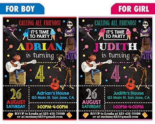 Custom Coco Birthday Party Invitations For Boy Or Girl 10pc 60pc 4x6 5x7 Cards With White Envelopes Printed On Premium 265gsm Card Stock