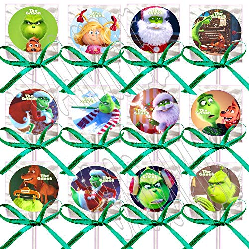 The Grinch Lollipops Dr. Seuss Movie Party Favors Decorations 12 - Lollipops w/Green Ribbon Bows Party Favors, Who Stole Christmas, Whoville, Dog Max, Cindy Lou Who