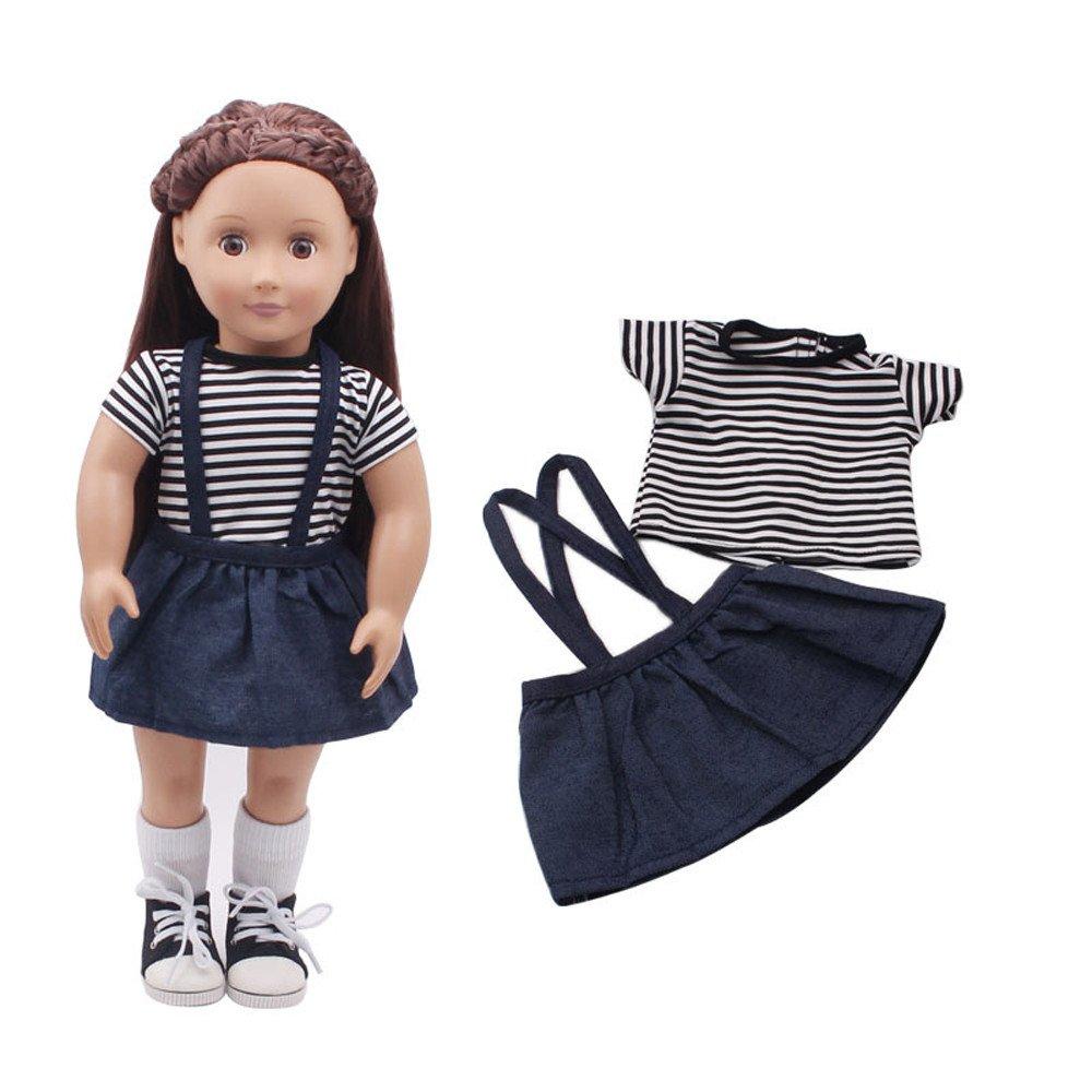 カルム 人形 衣装 ドレス 衣装 衣装 セット 18インチのAmerican Girl Our Generation人形用 B07J1K5DRV  ネイビー