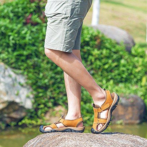 Scarpe L'escursionismo Yellow Scarpe All'aperto Estate Piscina Vera Casual Chiusi Pelle Uomo Romane Antiscivolo Da Per Alpinismo Spiaggia Sandali 7qTzg6xw