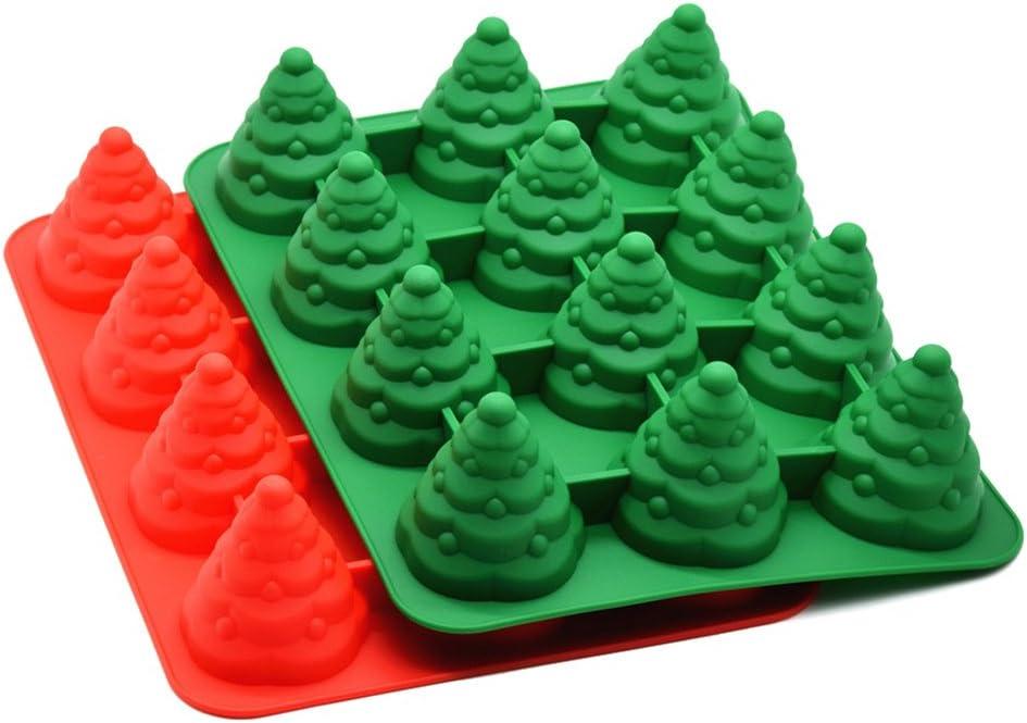 Green mollylover 12 L/öcher Silikon Backform 3D Weihnachtsbaum Stil Schokolade Baum Geformt Muffin Cupcake Form Tablett Handwerk S/ü/ßigkeiten Formen F/ür Kinder Party und Backen