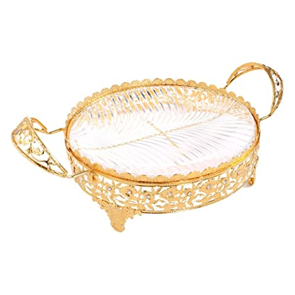 Amazon Com Crystal Compote Centerpiece Decorative Glass Bowl Plate