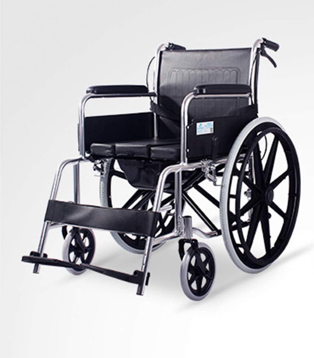 L&F Silla cómoda con Ruedas, Asiento de Ducha Acolchado con Ruedas e Inodoro Incorporado, Inodoro, Taburete para baño, Personas Mayores, discapacitados y Movilidad Limitada