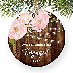 "Engagement Gifts for Her, Our 1st Christmas We're Engaged First Christmas Ornament - Couple Pink Peonies Rustic Xmas Farmhouse Collectible 3"" Flat Circle Porcelain w/ Gold Ribbon & Free Gift Box"