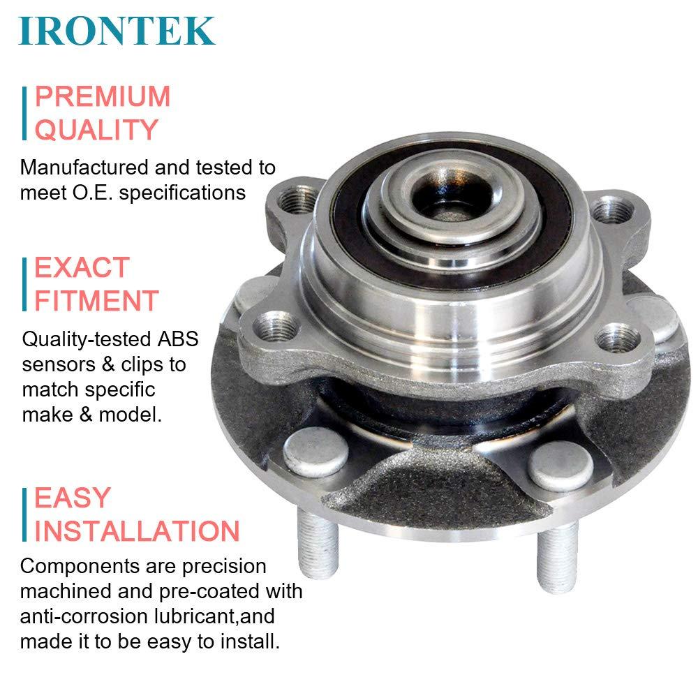 IRONTEK 513268 Front Wheel Hub Bearing Assembly 5 Lugs w//ABS Fit 2003-2007 Infiniti G35 RWD 2003-2009 Nissan 350Z