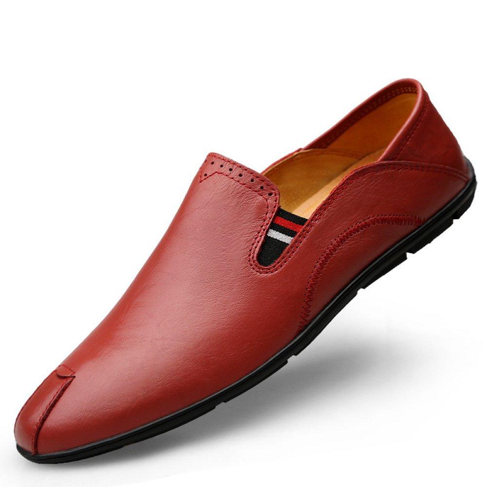 YXLONG Los Zapatos Casuales De Otoño De Los Nuevos Hombres Versión Coreana De Los Zapatos Salvajes De Conducción Zapatos De Guisantes De Cuero Zapatos De Un Pedal De Los Hombres,Winered-39 39|winered