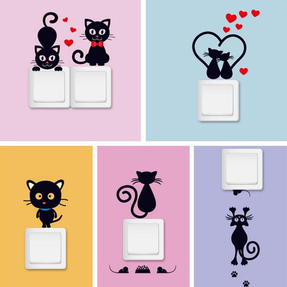 iTemer Vinilos decorativos pared Negro Gato Interruptor de luz Pegatinas de pared PVC extraíble decoración Negro-1: Amazon.es: Hogar