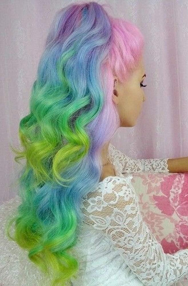 Peluca larga de sirena colorida con encaje frontal, color ...