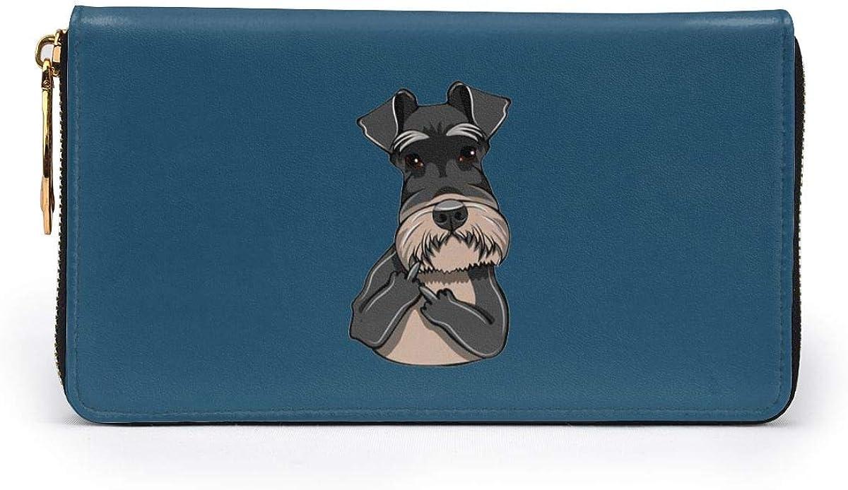 Schnauzer Dog Giving Middle Finger Women Leather Long Zipper Wallet Hand Purse