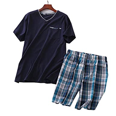 418620709aae Image Unavailable. Image not available for. Color: Men's Summer 100% Cotton  Short Sleeve Pajamas ...