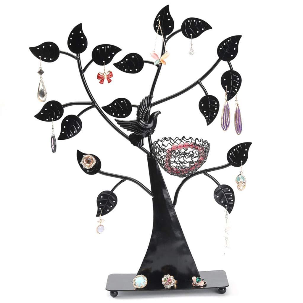 ROBAG Jewelry Rack Metal Storage Bag European Creative Wrought Iron Bird Nest Tree Detachable Earrings Necklace Pendant Display Stand (Black)
