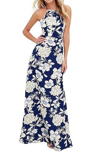Ayliss Women's Halter Backless Maxi Dress Navy Blue with White Flower Elegant Dress