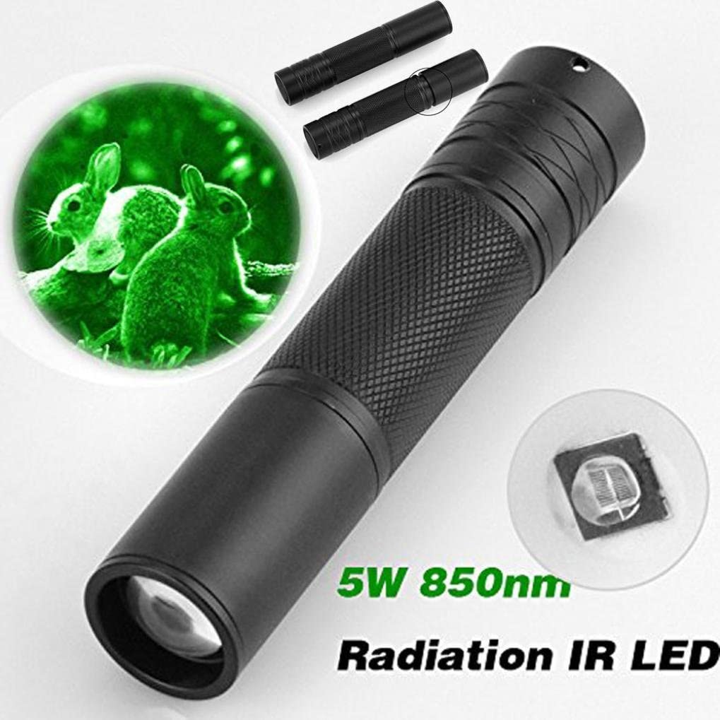 IR Torch Lamp 850nm 5W Zoom Infrared Light Flashlight Hunting Lamp Waterproof