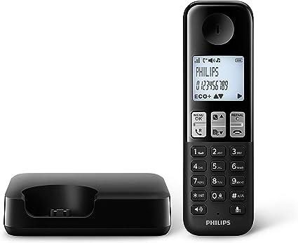 Philips D2501B/34 - Teléfono Fijo Inalámbrico (16 Horas, Retroiluminación, HQ-Sound, Manos Libres, Identificador de Llamadas, Agenda 50 Nombres y números, Plug & Play, Eco+) Negro: Amazon.es: Electrónica