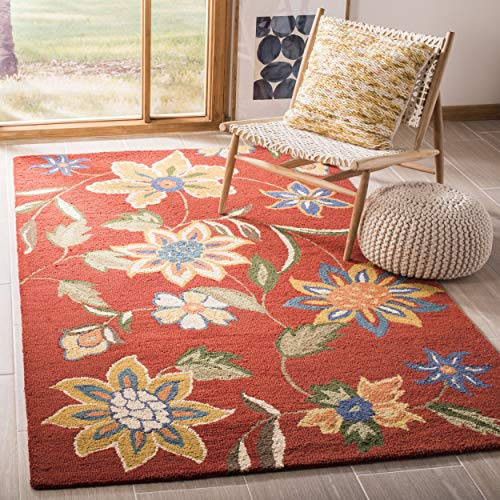 (Safavieh Blossom Collection BLM673A Handmade Rust and Multi Premium Wool Area Rug (5' x 8'))