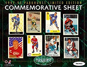 (CI) Dave Keon, Dick Duff, George Armstrong, Ralph Backstrom, Andy Bathgate, Alex Delvecchio, Bill Mosienko, Milt Schmidt Hockey Card 1992-93 Parkhurst Commemorative Sheets Promo 1 Dave Keon, Dick Duff, George Armstrong, Ralph Backstrom, Andy Bathgate, Al