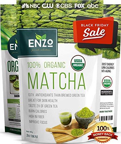 BLACK FRIDAY SALE - Matcha Green Tea Powder 2oz - Strong Milky Taste USDA Organic Certified - 137x Antioxidants Over Brewed Green Tea - Great for Latte, Smoothie, Ice Cream, Baking