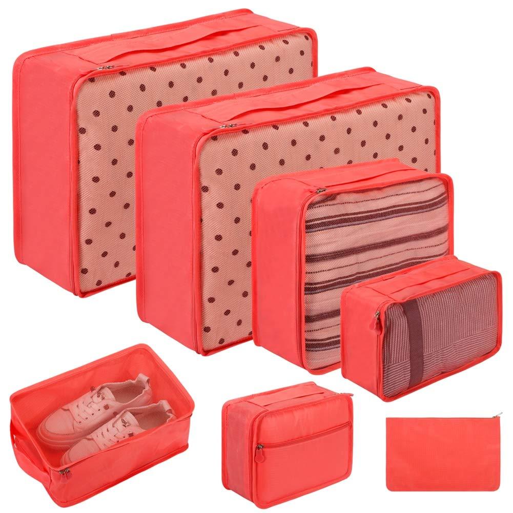Bolsas de Viaje para Embalaje Rojo Vino Rojo 7 Pieces Grandes Cubos de Embalaje para Maletas Juego de 7 organizadores de Equipaje de Viaje Ropa