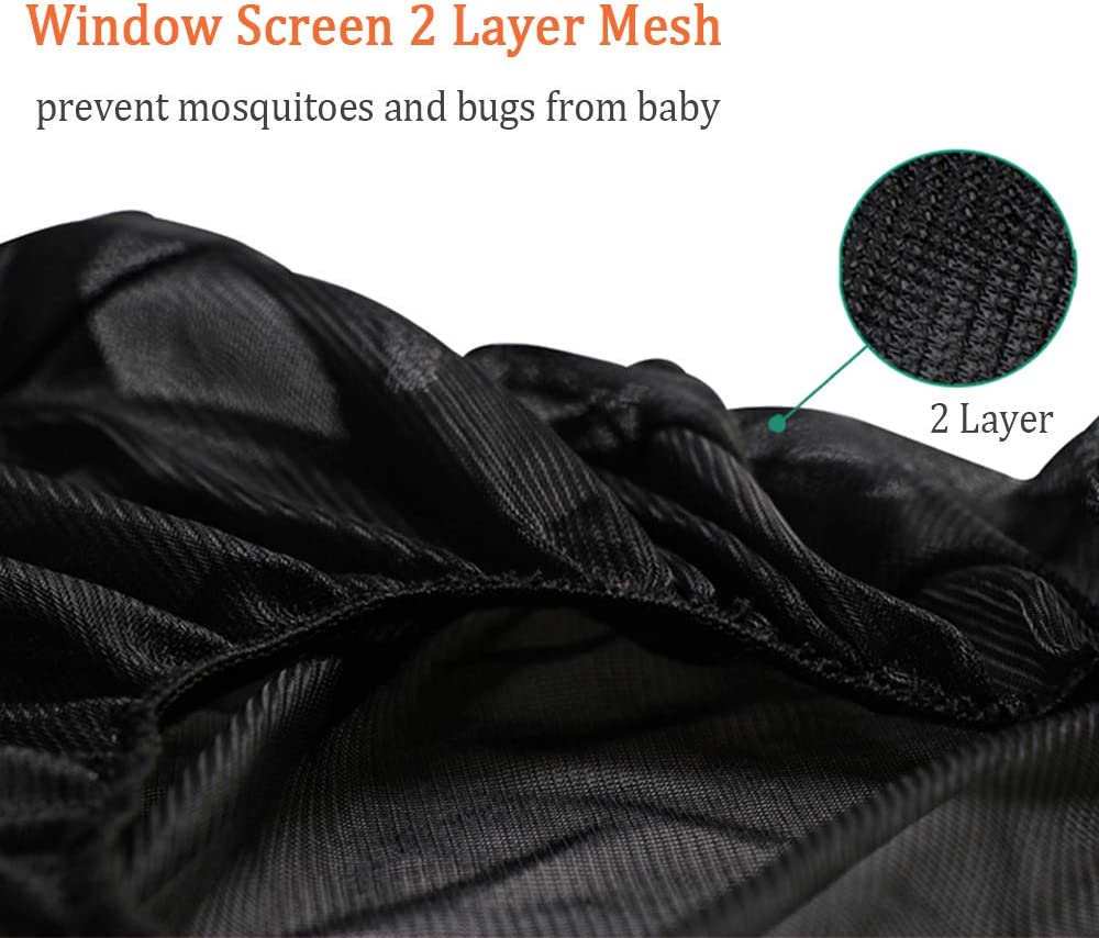 Coverify Side Window Shade Rear for Baby and Kids Breathable Side Window Mesh Easy to Install Backseat Sun Shade Full Contoured Windows Protect Car Window Bug Screens 2-Pack