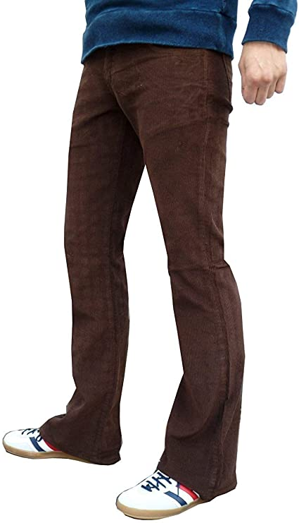 Men's Vintage Pants, Trousers, Jeans, Overalls Mens Brown Bootcut Flares Corduroy Indie Retro Flared Pants £32.99 AT vintagedancer.com