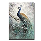 Asdam Art-100% Hand Painted Paintings On Canvas 3D Peacock Artwork Large Vertical Wall Art Animal Pictures Framed Acrylic Artwork for Living Room Bedroom Hallway Office Modern Home Decor(24x36inch)