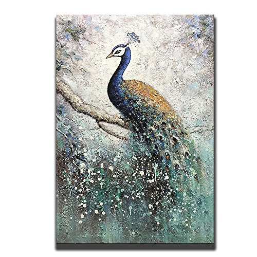 Asdam Art-100% Hand Painted Peacock Paintings On Canvas 3D Vertical Wall Art Animal Pictures Framed Acrylic Artwork For Living Room Bedroom Dinning Room Office Modern Home Wall Decor(24x36in) (Peacock Painting Wall)