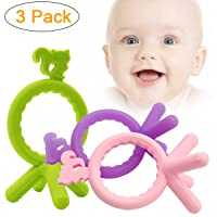 3-Pack ATOZEDO Baby Teether, Soft Silicone Teething Toys Deals