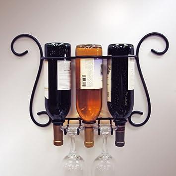 Amazoncom Jj Wire 3 Bottle Wall Wineglass Holder Wine Racks
