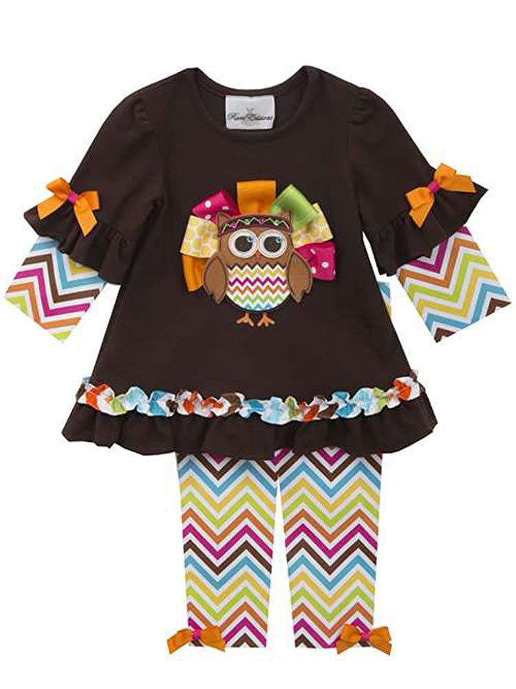 Rare Editions Baby Girl Chevron Owl Turkey Thanksgiving Outfit 3m-24m